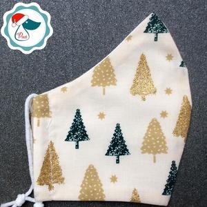 Egyedi karácsonyi arany mintás - kiskamasz szájmaszk - textil szájmaszk - egészségügyi szájmaszk - mosható szájmaszk, Maszk, Arcmaszk, Gyerek, Baba-és bábkészítés, Varrás, Egyedi, mintás, mosható, egészségügyi kiskamasz méretű szájmaszk 7-12 éves korig.\n\nA szájmaszk külön..., Meska
