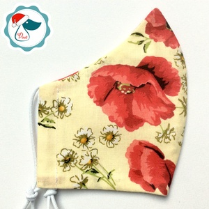 Egyedi pipacs mintás arcmaszk - felnőtt női és teenager maszk - textil szájmaszk - egészségügyi szájmaszk (Pindiart) - Meska.hu