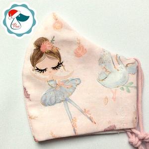 Egyedi ballerinakislány mintás maszk - gyerek textil arcmaszk - egészségügyi szájmaszk - mosható szájmaszk, Maszk, Arcmaszk, Gyerek, Baba-és bábkészítés, Varrás, Egyedi, mintás, mosható egészségügyi gyerek szájmaszk 3-6 éves korig.\n\nA szájmaszk különlegessége, h..., Meska