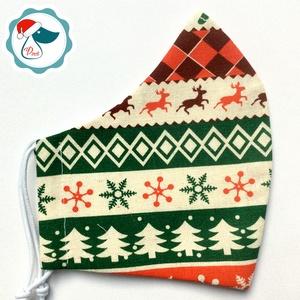 Karácsonyi mintás arcmaszk - férfi maszk - textil szájmaszk - egészségügyi szájmaszk (Pindiart) - Meska.hu
