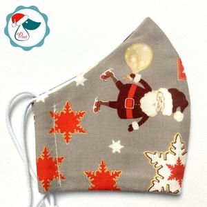 Karácsonyi mikulás mintás maszk - gyerek textil arcmaszk - egészségügyi szájmaszk - mosható szájmaszk (Pindiart) - Meska.hu