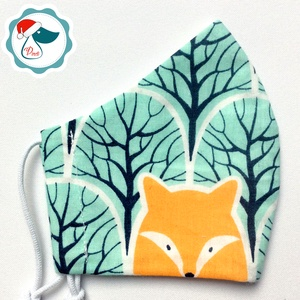 Egyedi rókás mintás maszk - gyerek textil arcmaszk - egészségügyi szájmaszk - mosható szájmaszk (Pindiart) - Meska.hu