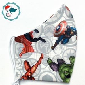 Egyedi szuperhösők mintás maszk - felnőtt női és teenager arcmaszk - textil szájmaszk - egészségügyi szájmaszk, Maszk, Arcmaszk, Női, Varrás, Meska