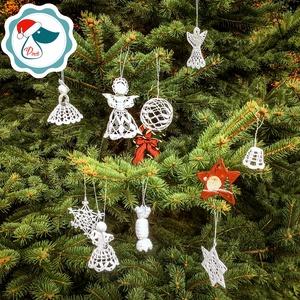 Egyedi 5db horgolt angyalka - Karácsonyfa dísz - karácsonyi dekorácíó- karácsonyi ajándék  (Pindiart) - Meska.hu