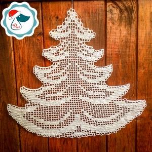 Egyedi nagy horgolt sík fenyő forma - Karácsonyi ablak dísz - karácsonyi dekorácíó- karácsonyi ajándék , Karácsony, Karácsonyi lakásdekoráció, Karácsonyi ablakdíszek, ablakmatricák, Csipkekészítés, Horgolás, Meska