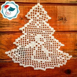 Egyedi horgolt sík fenyő forma - Karácsonyi ablak dísz - karácsonyi dekorácíó- karácsonyi ajándék , Karácsony, Karácsonyi lakásdekoráció, Karácsonyi ablakdíszek, ablakmatricák, Csipkekészítés, Horgolás, Meska