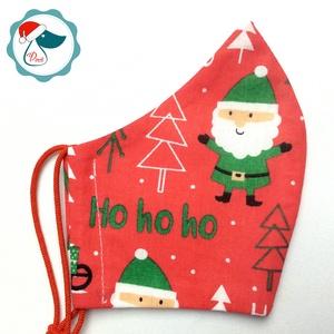Karácsonyi maszk- felnőtt női és teenager szájmaszk - textil szájmaszk - egészségügyi szájmaszk, Maszk, Arcmaszk, Női, Varrás, Egyedi, mintás, mosható egészségügyi női és teenager méretű szájmaszk.\n\nA szájmaszk különlegessége, ..., Meska