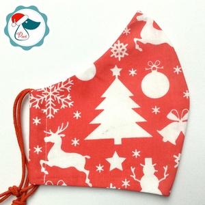 Karácsonyi maszk - férfi arcmaszk -ezüst fenyőfa mintás - textil szájmaszk - egészségügyi szájmaszk, Maszk, Arcmaszk, Férfi & Uniszex, Varrás, Egyedi, mintás, mosható egészségügyi férfi méretű szájmaszk.\n\nA szájmaszk különlegessége, hogy újra ..., Meska