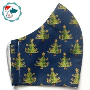 Karácsonyi fenyőfa mintás maszk - férfi arcmaszk - textil szájmaszk - egészségügyi szájmaszk, Maszk, Arcmaszk, Férfi & Uniszex, Varrás, Egyedi, mintás, mosható egészségügyi férfi méretű szájmaszk.\n\nA szájmaszk különlegessége, hogy újra ..., Meska