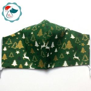 Karácsonyi fenyőfa mintás maszk - férfi arcmaszk - textil szájmaszk - egészségügyi szájmaszk (Pindiart) - Meska.hu