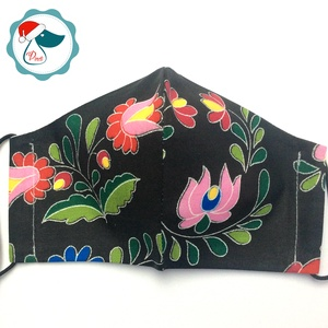 Egyedi kalocsai mintás arcmaszk - felnőtt női és teenager maszk - textil szájmaszk - egészségügyi szájmaszk (Pindiart) - Meska.hu
