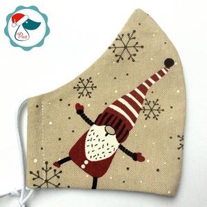 Karácsonyi  manó mintás arcmaszk - férfi maszk - textil szájmaszk - egészségügyi szájmaszk, Maszk, Arcmaszk, Férfi & Uniszex, Varrás, Egyedi, mintás, mosható egészségügyi férfi méretű szájmaszk.\n\nA szájmaszk különlegessége, hogy újra ..., Meska