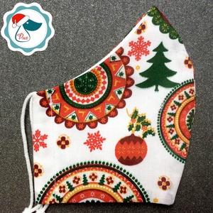 Karácsonyi mandalás mintás arcmaszk - felnőtt női és teenager maszk - textil szájmaszk - egészségügyi szájmaszk (Pindiart) - Meska.hu