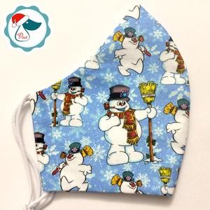 Karácsonyi hóemberes maszk- felnőtt női és teenager szájmaszk - textil szájmaszk - egészségügyi szájmaszk, Maszk, Arcmaszk, Női, Varrás, Egyedi, mintás, mosható egészségügyi női és teenager méretű szájmaszk.\n\nA szájmaszk különlegessége, ..., Meska