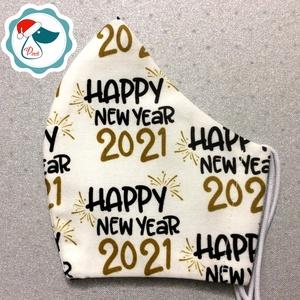 2021 Újévi mintás férfi maszk - textil szájmaszk - egészségügyi szájmaszk - mosható szájmaszk (Pindiart) - Meska.hu