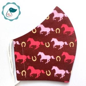 Egyedi lovas maszk - prémium  kiskamasz arcmaszk - textil szájmaszk - egészségügyi szájmaszk - mosható szájmaszk, Maszk, Arcmaszk, Gyerek, Baba-és bábkészítés, Varrás, Meska