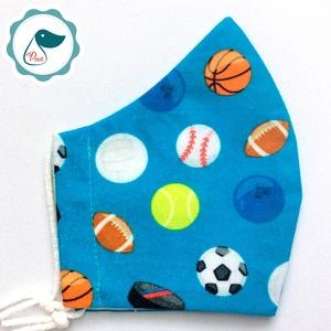 Egyedi labdás maszk - prémium kiskamasz arcmaszk - textil szájmaszk - egészségügyi szájmaszk - mosható szájmaszk, Maszk, Arcmaszk, Gyerek, Baba-és bábkészítés, Varrás, Meska
