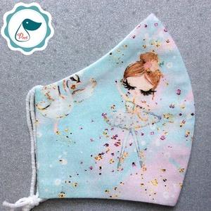 Egyedi balerina lány mintás -  gyerek szájmaszk - textil szájmaszk  - mosható szájmaszk (Pindiart) - Meska.hu