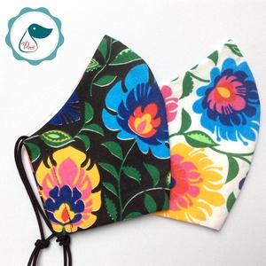 2 db népi motívumos maszk - felnőtt női és teenager szájmaszk - textil szájmaszk - egészségügyi szájmaszk (Pindiart) - Meska.hu