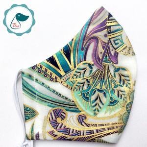 Egyedi exluziv arany,mintás textil -prémium felnőtt női és teenager arcmaszk - keleti motívumok - egészségügyi szájmaszk - Meska.hu