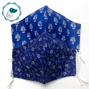 2 db kékfestő mintás - felnőtt női és teenager szájmaszk - textil szájmaszk - egészségügyi szájmaszk (Pindiart) - Meska.hu