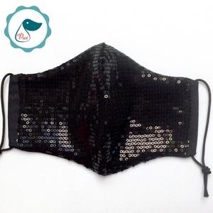 Egyedi fekete,flitteres, csillogó maszk  - felnőtt női és teenager arcmaszk - textil szájmaszk - egészségügyi szájmaszk (Pindiart) - Meska.hu