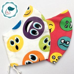 2 db smile mintás maszk - kiskamasz arcmaszk - textil szájmaszk - egészségügyi szájmaszk - mosható szájmaszk, Maszk, Arcmaszk, Gyerek, Baba-és bábkészítés, Varrás, Egyedi, mintás, mosható, egészségügyi kiskamasz méretű szájmaszk 7-12 éves korig.\n\nA szájmaszk külön..., Meska
