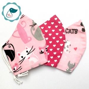 3 db cicás,szives maszk - kiskamasz arc maszk - textil szájmaszk - egészségügyi szájmaszk - mosható szájmaszk (Pindiart) - Meska.hu