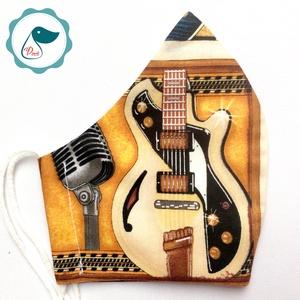 Egyedi gitáros maszk  - felnőtt női és teenager arcmaszk - textil maszk - egészségügyi szájmaszk - Meska.hu