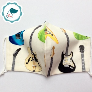 Egyedi gitáros maszk - kiskamasz arcmaszk - egészségügyi textil szájmaszk - mosható szájmaszk - Meska.hu