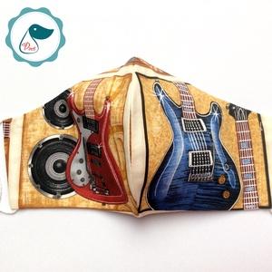Egyedi gitáros szájmaszk - férfi maszk - textil arcmaszk - egészségügyi szájmaszk - Meska.hu