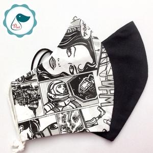 2db fekete,képregényes maszk - férfi maszk - textil szájmaszk - egészségügyi szájmaszk - Meska.hu