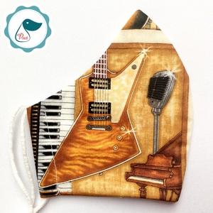 Egyedi gitáros arcmaszk - felnőtt női és teenager maszk -prémium textil szájmaszk - egészségügyi szájmaszk, Maszk, Arcmaszk, Női, Varrás, Meska
