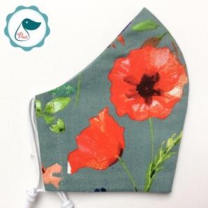 Pipacsos maszk -prémium felnőtt női és teenager arcmaszk - mezei virágok - textil szájmaszk - egészségügyi szájmaszk - Meska.hu