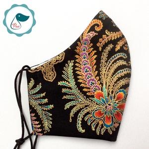 Egyedi exluziv arany,mintás textil - felnőtt női és teenager arcmaszk- prémium keleti motívumok - egészségügyi szájmaszk - Meska.hu