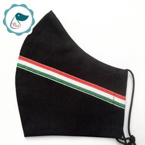 Férfi nemzeti szallagos fekete maszk -egyedi arcmaszk - textil szájmaszk - egészségügyi szájmaszk - mosható maszk, Maszk, Arcmaszk, Férfi & Uniszex, Varrás, Meska