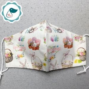 Húsvéti nyuszis maszk - kiskamasz arcmaszk - húsvéti maszk - egészségügyi textil szájmaszk - mosható szájmaszk - Meska.hu