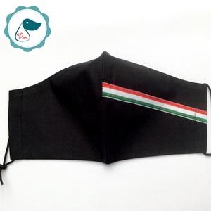 Egyedi fekete nemzetiszallagos maszk - kiskamasz arcmaszk - egészségügyi textil szájmaszk - mosható szájmaszk - Meska.hu