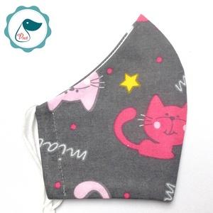 Egyedi cicás arcmaszk - felnőtt női és teenager maszk - textil szájmaszk - egészségügyi szájmaszk - Meska.hu