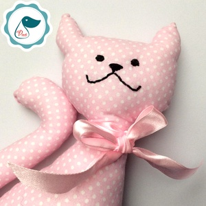Cica - Rózsaszín egyedi tervezésű kézműves játék - textiljáték - macska - Meska.hu