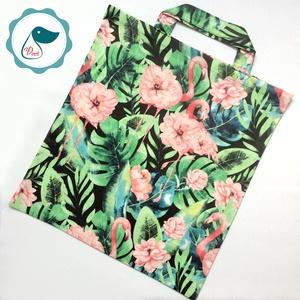 Szatyor - flamingós mintás textil táska - bevásárló táska  - egyedi bevásárló szatyor - textil szatyor - mosható szatyor, Táska & Tok, Bevásárlás & Shopper táska, Shopper, textiltáska, szatyor, Varrás, Meska