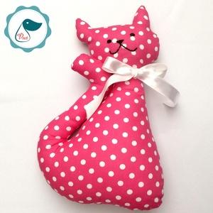 Cica - pink pöttyös egyedi tervezésű kézműves játék - textiljáték - macska - Meska.hu