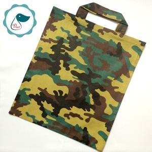 Szatyor - Terep mintás textil táska - bevásárló táska  - egyedi bevásárló szatyor - textil szatyor - mosható szatyor - Meska.hu