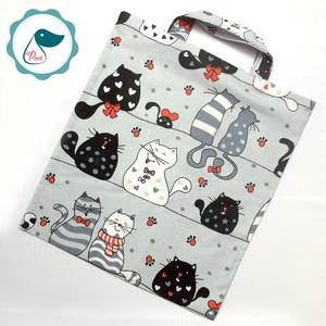 Szatyor - cica mintás textil táska - bevásárló táska  - egyedi bevásárló szatyor - textil szatyor - mosható szatyor - Meska.hu