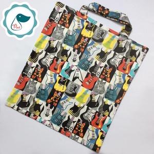 Szatyor - gitár mintás  bevásárló táska  - egyedi bevásárló szatyor - textil szatyor - mosható szatyor, Táska & Tok, Bevásárlás & Shopper táska, Shopper, textiltáska, szatyor, Varrás, Meska