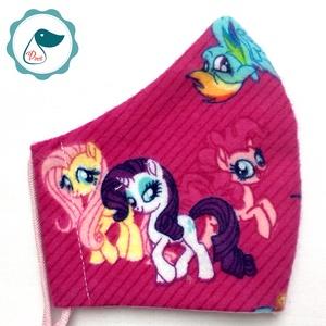 Egyedi póni mintás prémium flanel textil - gyerek szájmaszk  - egészségügyi szájmaszk - mosható szájmaszk - Meska.hu