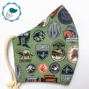 Egyedi Jurassic world - gyerek szájmaszk - textil maszk - egészségügyi szájmaszk - mosható szájmaszk, Maszk, Arcmaszk, Gyerek, Baba-és bábkészítés, Varrás, Egyedi, mintás, mosható egészségügyi gyerek szájmaszk 3-6 éves korig.\n\nA szájmaszk különlegessége, h..., Meska