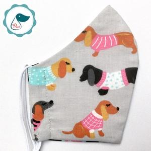 Egyedi  tacskó mintás maszk - kiskamasz arcmaszk - textil arcmaszk - egészségügyi maszk - mosható szájmaszk - Meska.hu