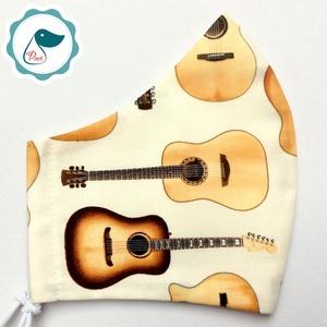 Egyedi- gitáros maszk -  ptémium férfi mosható szájmaszk - textil szájmaszk - egészségügyi szájmaszk, Maszk, Arcmaszk, Férfi & Uniszex, Varrás, Meska