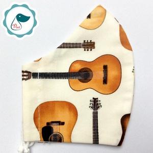 Egyedi gitáros maszk - felnőtt női és teenager maszk - textil szájmaszk - egészségügyi szájmaszk - maszk, arcmaszk - női - Meska.hu